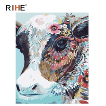 RIHE Colorful Cow Diy Painting By Numbers Oil On Canvas Hand Painted Cuadros Decoracion Acrylic Animal Paint Home Decor