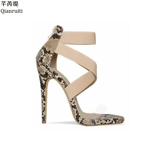 Qianruiti Rome Style Elastic Straps High Heels Women Sandals Clear PVC Women Gladiator Shoes Open Toe Stiletto Heels Women PumpsQianruiti Rome Style Elastic Straps High Heels Women Sandals Clear PVC Women Gladiator Shoes Open Toe Stiletto Heels Women Pumps