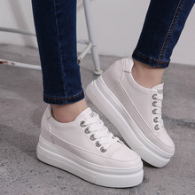 Round Toe 4 cm Platform 2.5 cm Loafers Casual Flats Lace Up Woman Autumn Creepers Women Flats White Shoes Sneakers Size 35-39