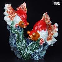 Shiwan doll master boutique handcrafted ceramic animal fish feast living room decor decoration
