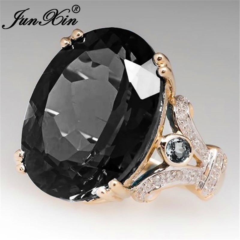 Роскошное женское кольцо с большим черным камнем, модные обручальные кольца для женщин, Свадебное обручальное кольцо с любовью