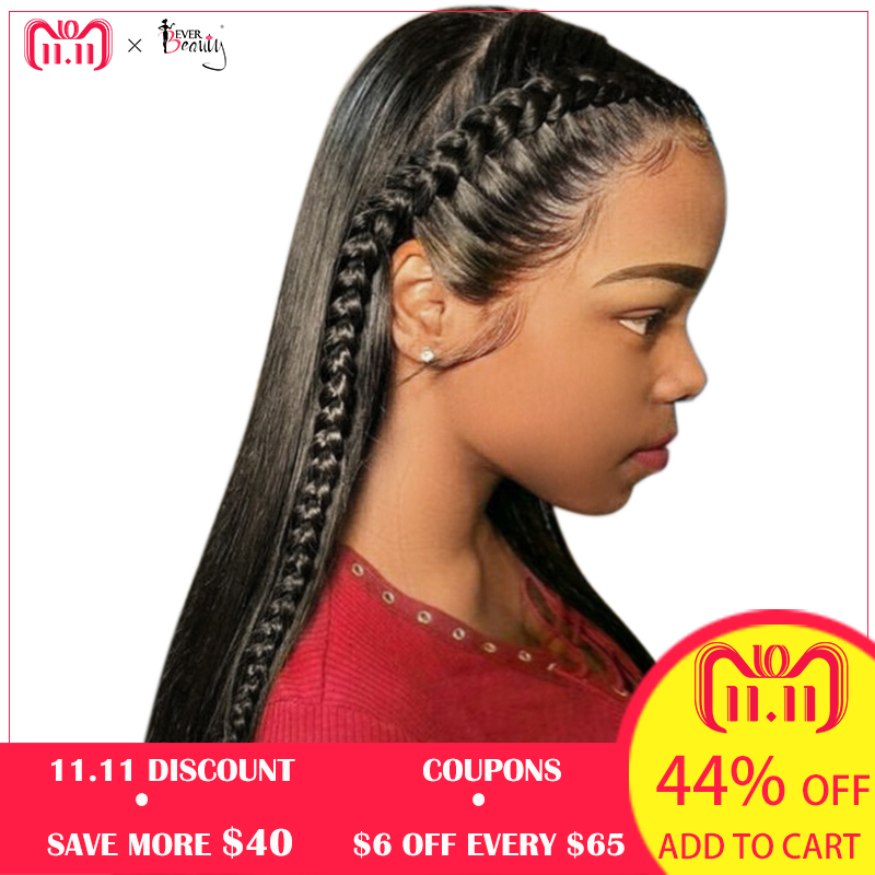 13x6 Lace Front Human Hair Wigs For Women Natural Black 250% Density Brazilian Straight Glueless Lace Front Wig Remy Ever Beauty