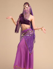 Bellydance oriental Belly Indian gypsy dance dancing costume costumes clothes bra belt chain scarf ring skirt dress set suit 160
