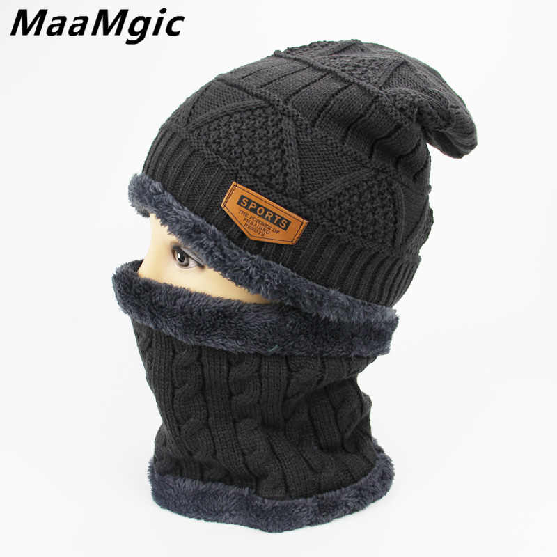 168b03b68e9da3 2018 Beanies Men s Winter Hat Scarf Set Skullies Bonnet Winter Hats For Men Women  Beanie Warm