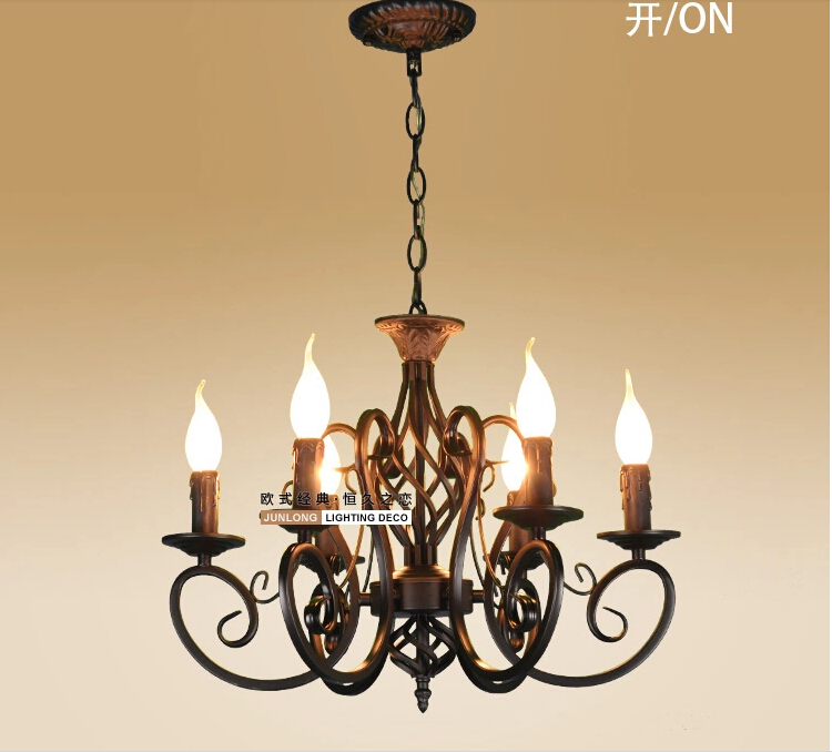 European Fashion Vintage Chandelier Ceiling lamp 6 Candle Lights ...