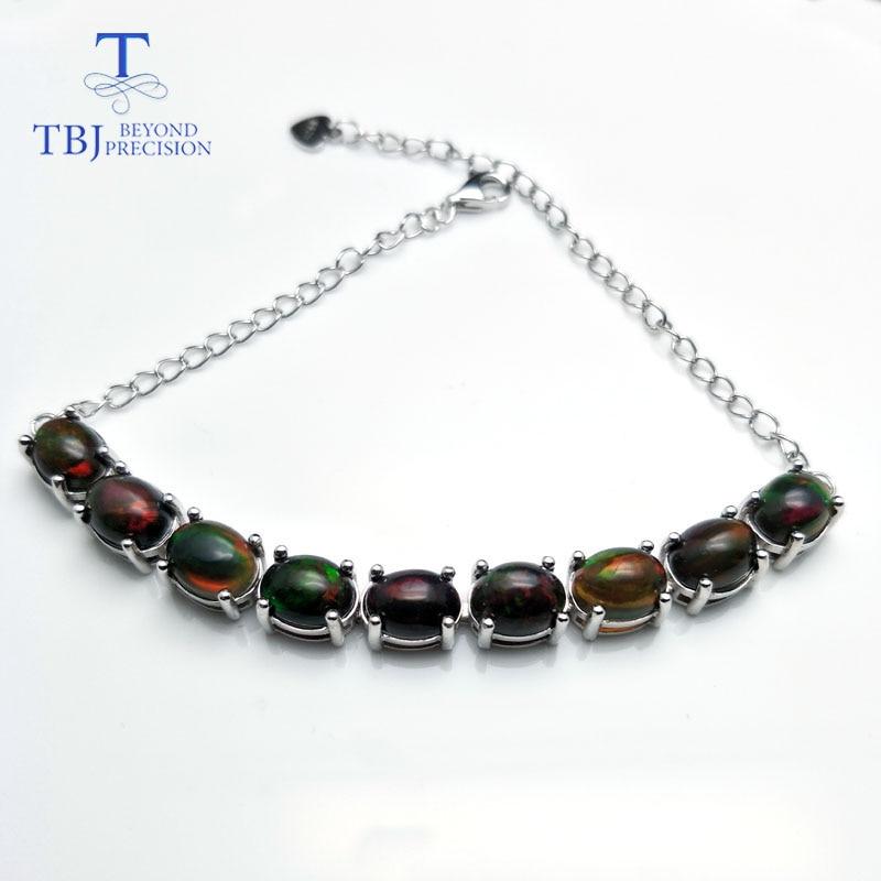 TBJ Natural Ethiopian black opal gemstone oval 6 8mm 925 Sterling silver simply style bracelet fine