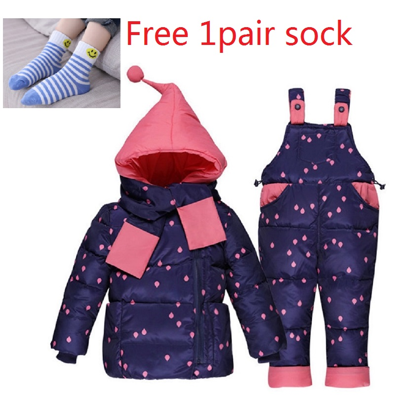 Children Girls Winter Warm Down Jacket Suit Thick Coat+Jumpsuit Baby Clothes Set Kids Hooded Jacket With Scarf for 1-3Y freegift newborn boys girls winter warm down jacket suit set thick coat overalls suits baby clothes set kids hooded jacket with scarf