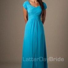 Синее длинное платье для принцессы, вечернее, до пола шифон Скромные платья для подружки невесты Одежда с рукавами с рюшами платье подружки невесты платья Скромные