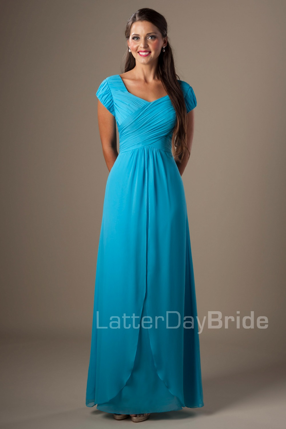Blue a line long formal floor length chiffon modest for Modest wedding dresses with long sleeves