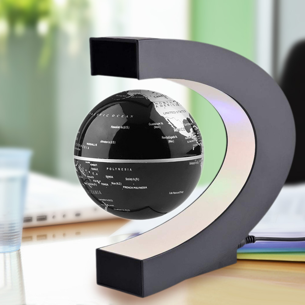 Fashion Home Decoration LED Floating Tellurion Globe Shape Magnetic Levitation Light World Map Tellurion Black/Blue UA #LO