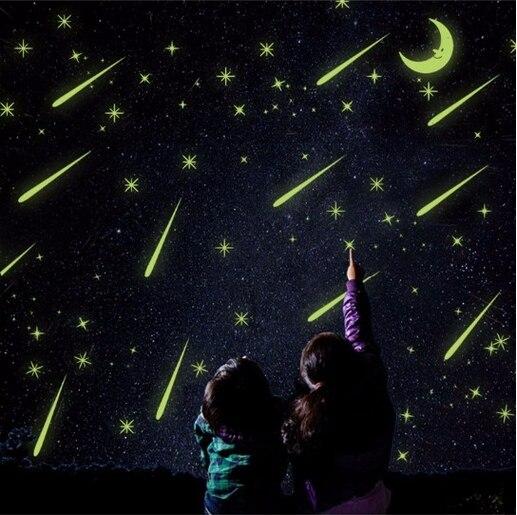 ПВХ красивый световой метеорный поток стены Стикеры флуоресцентный луны и звезд Светящиеся в темноте светящиеся флуоресцентные Наклейки н...