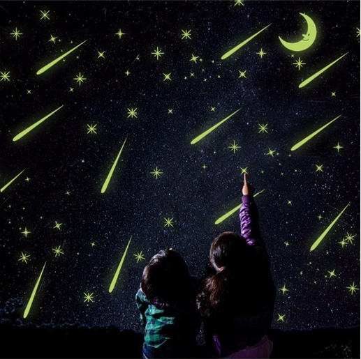 PVC beautiful luminous meteor shower wall sticker fluorescent Moon stars glow in the dark Luminous Fluorescent Wall Stickers