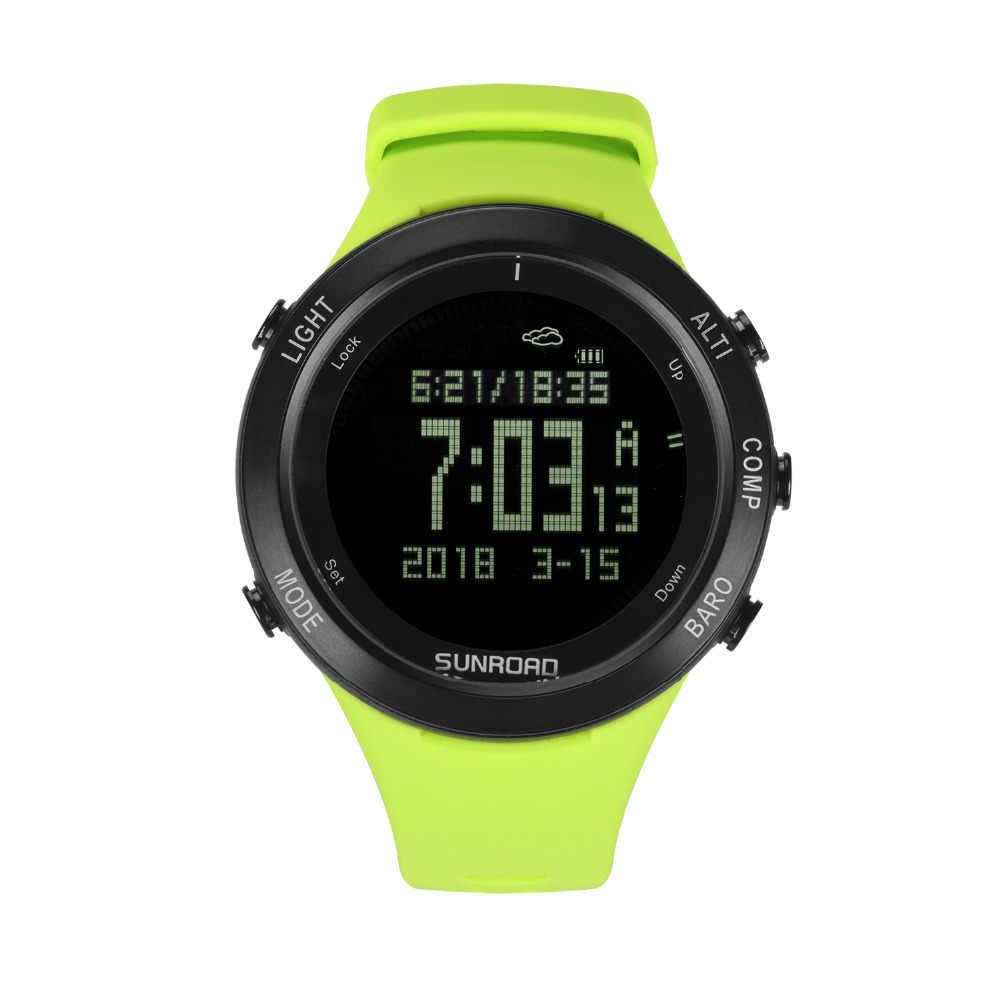 SUNROAD New Men Heart Rate Watch Compass Pedometer Altimeter 5ATM Waterproof Digital Clamping Charging Sports Watches Relogio