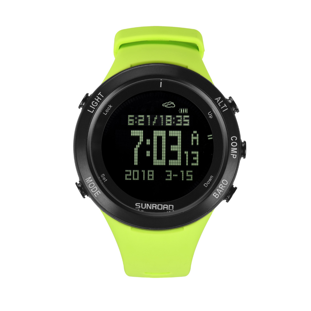 SUNROAD New Compass Pedometer Altimeter 5ATM Waterproof Men Watches Digital Smart Clamping Charging Sports watch with heart rate