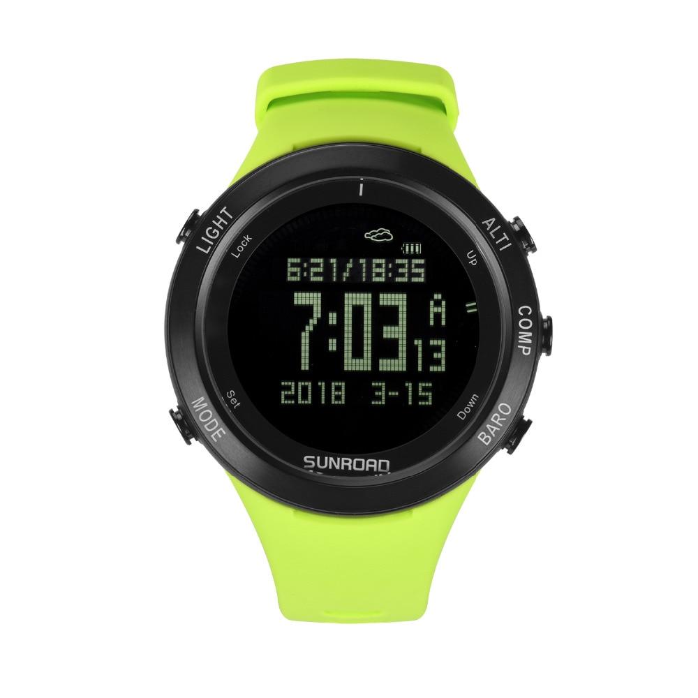 SUNROAD جديد الرجال ساعة معدل نبضات القلب البوصلة عداد الخطى مقياس الارتفاع 5ATM للماء الرقمية لقط شحن الرياضة الساعات Relogio-في ساعات رقمية من ساعات اليد على  مجموعة 1