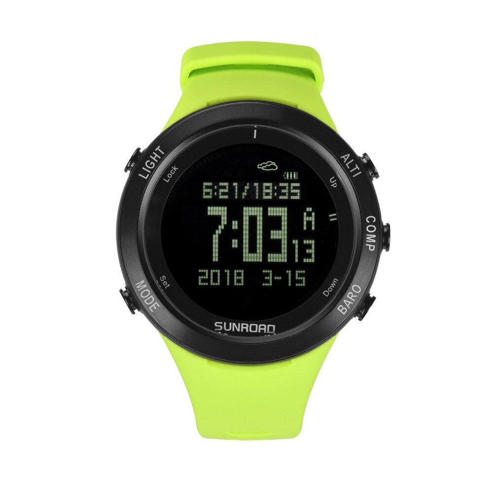 Sunroad 새로운 남자 심박수 시계 나침반 보수계 고도계 5atm 방수 디지털 클램핑 충전 스포츠 시계 relogio-에서디지털 시계부터 시계 의  그룹 1