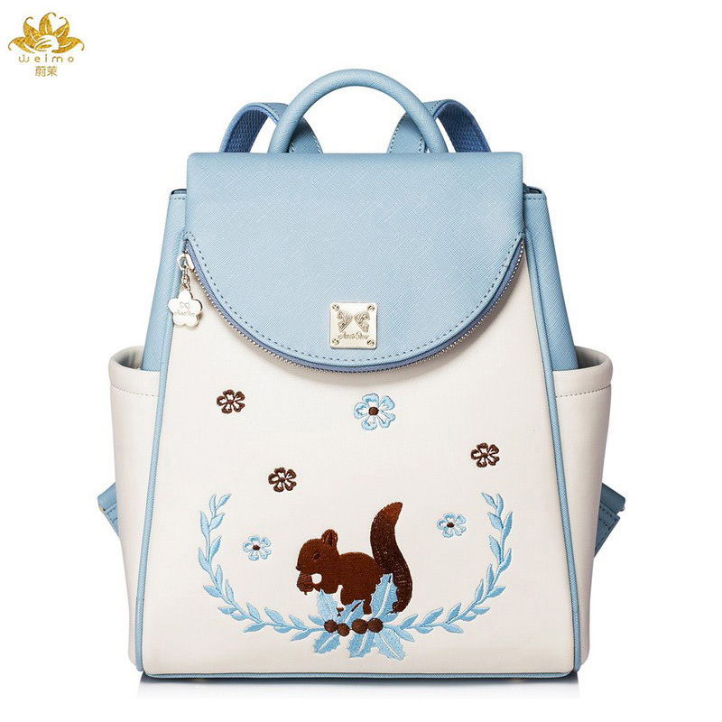 WE MORE Fashion PU Leather Women Backpack Designer Brand Casual Printing Girls Backpacks Bag Backpacks Lady