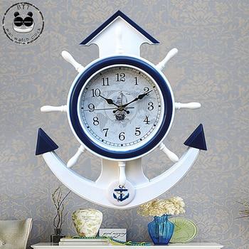 Sailboat Vintage Wall Clock Silent 3D Clock Mechanism Wall Decorations Living Room Reloj Pared
