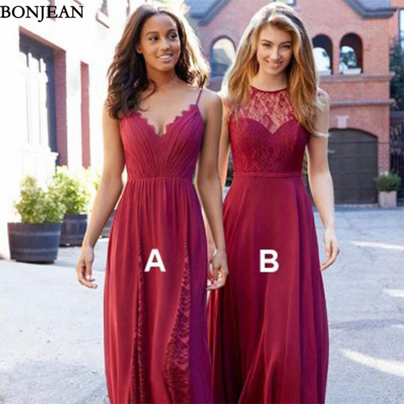 Burgundy Red   Bridesmaid     Dresses   A-Line For Wedding Sleeveless Lace Mismached V Back Party Wedding Guest Long   Bridesmaid     Dress