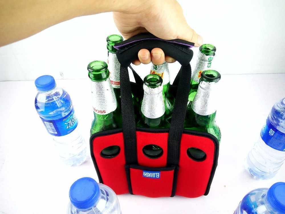 ネオプレン 6 ビール缶屋外アイスゲルピクニックワインボックスチラー冷凍バッグランチボトル水クーラーナイロンキャンプ食器パック