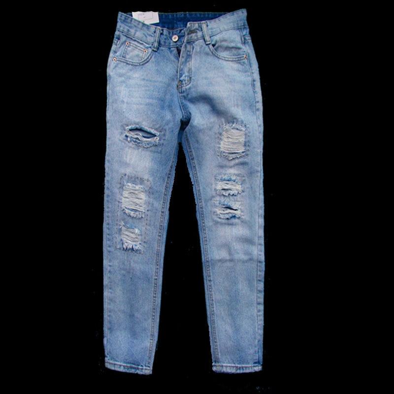 febfd7731355d57 Модные европейские и американские женские джинсы женские рваные джинсы  Брюки повседневные женские джинсовые брюки женские синие джинсы