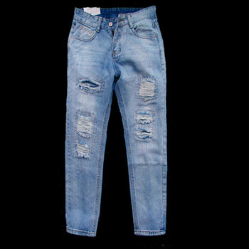 23e75c78f69 Модные европейские и американские женские джинсы женские рваные джинсы Брюки  повседневные женские джинсовые брюки женские синие джинсы