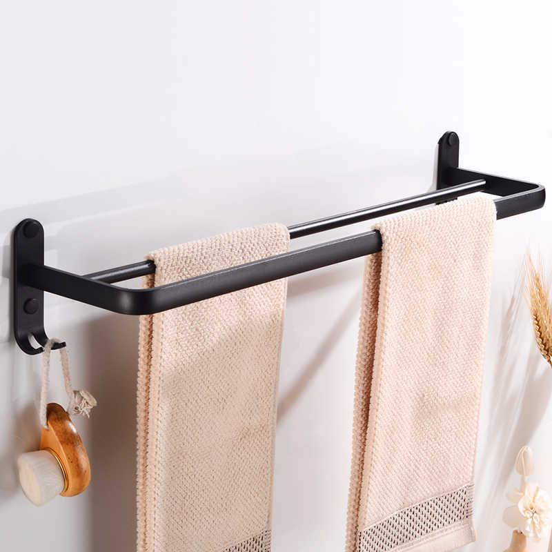 Ręcznik łazienkowy stojak ścienny podwójny uchwyt na ręcznik uchwyt czarny aluminiowy wieszak na ręczniki wieszak stojak z hakiem kreatywna półka do przechowywania
