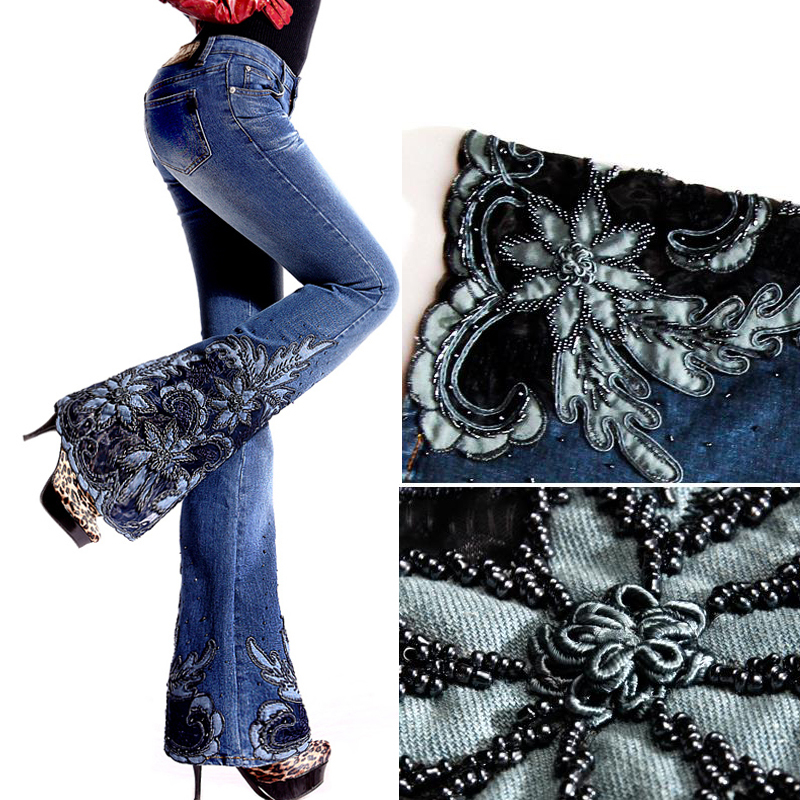 Denim Trousers Flare Jeans Embroidery Pants Fashion Woman Autumn Spring for Beading European-Style