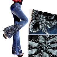 Autumn Spring Fashion European Style Woman Embroidered Flares Beading Denim Trousers , Embroidery Flare Jeans Pants For Women