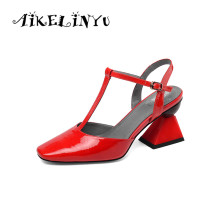 AIKELINYU Summer Patent Leather Shoes Sexy Party Lady Strange High-heeled Sandals Square Toe Pumps Red T Bandage Strap