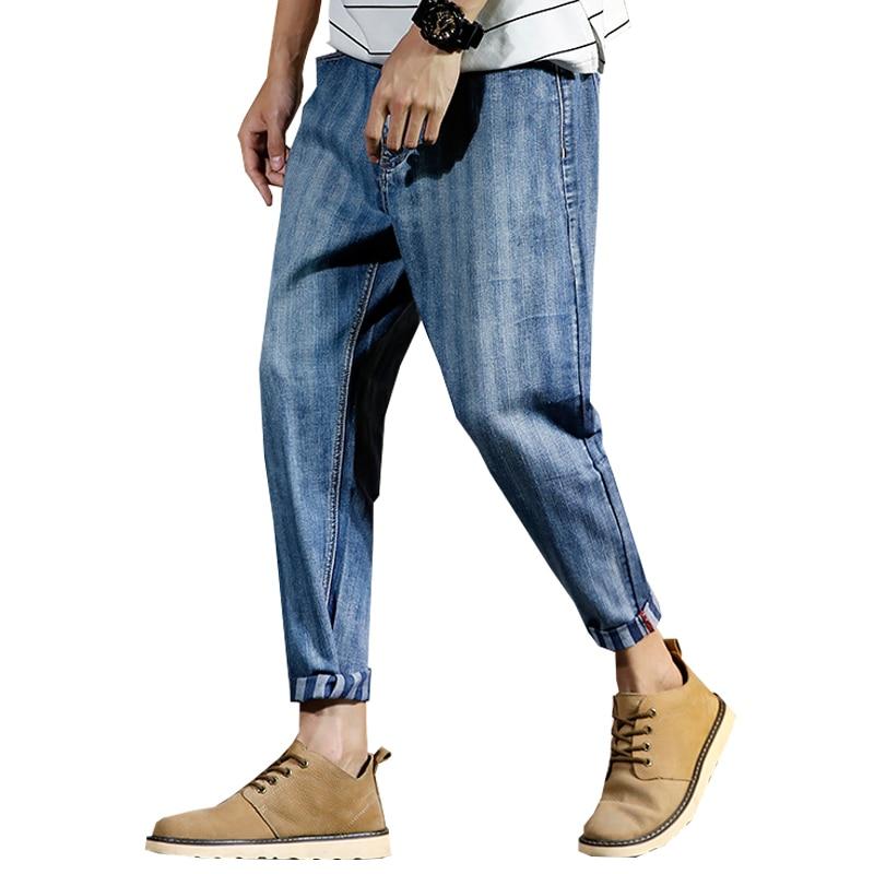 2018 Harem Pants Men Jeans Male Denim Long Pant Harems Jean Casual Plus Size 28-42 Blue  Jeanswear Loose Hip Striped Stripe