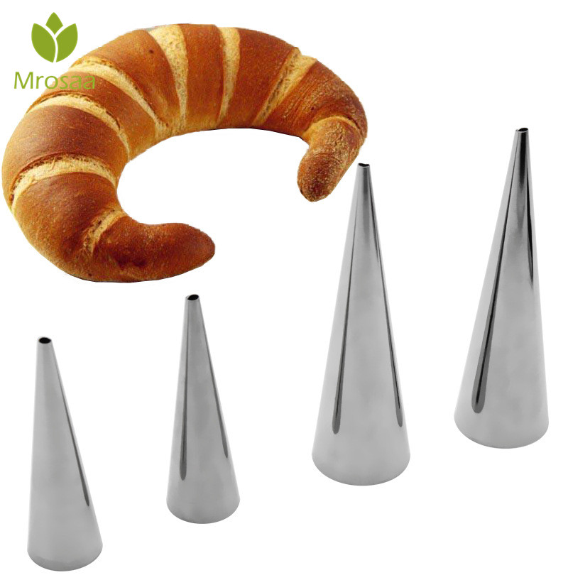 DIY Baking Cones Size L Stainless Steel Spiral Baked Croissants Tubes Horn Pastry Roll Cake Mold Bakeware for kitchen