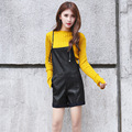 Simple black PU leather overalls shorts women Casual pocket shorts 2016 Autumn girl shorts 8817