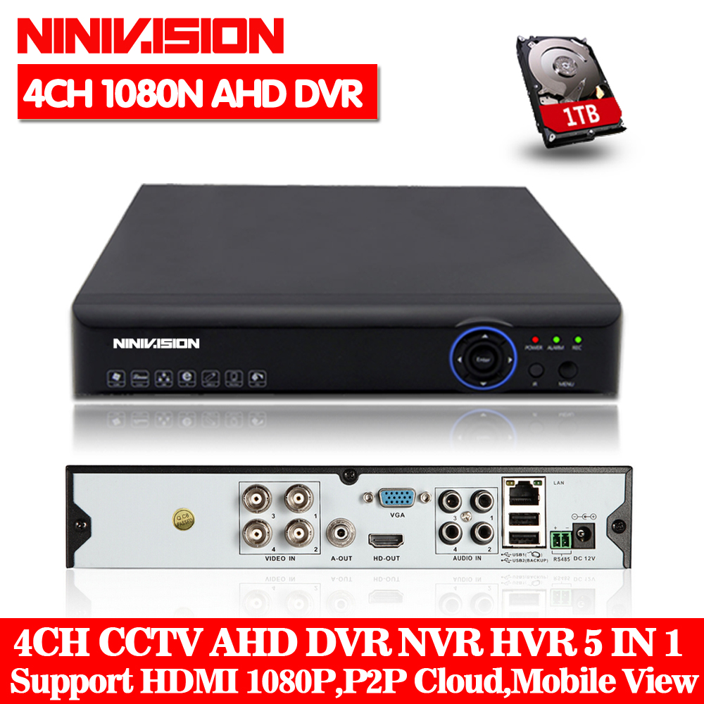 цена на 4CH AHD DVR Recorder Full 1080N Surveillance Video Recorder H.264 4 Channel Digital Video Recorder For CCTV AHD Camera Kit