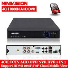 4CH AHD DVR Регистраторы полный 1080N видеонаблюдения Регистраторы H.264 4 канальный цифровой видео Регистраторы для видеонаблюдения AHD Камера комплект