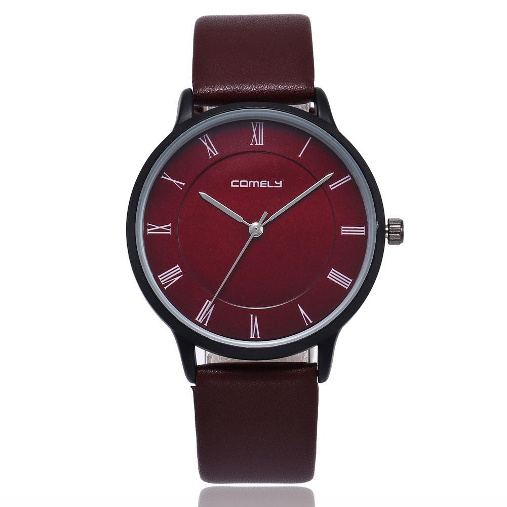Roman Numerals Fashion montre homme men Genuine Leather Band Quartz Big Dial Wrist Watch reloj orologio uomo roman numerals dial artificial leather watch