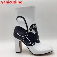 Yanicuding Caliente Modelo Animal de Diseño de Las Mujeres Botas de Punta Redonda Negro Zapato Con Cierre de Leopardo Moda Mitad de la pantorrilla Corta Botines Bloque talón