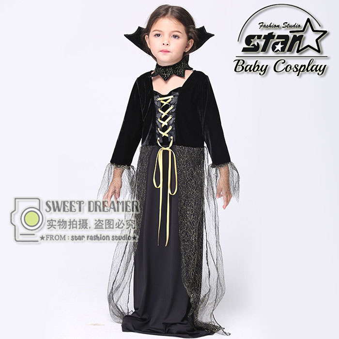 Halloween Girls Costumes Vampire Queen Children Dress Cosplay Kids Black Mesh Party Dress Bat Queen Fairy Maxi Long Dress 4pcs gothic halloween artificial devil vampire teeth cosplay prop for fancy ball party show