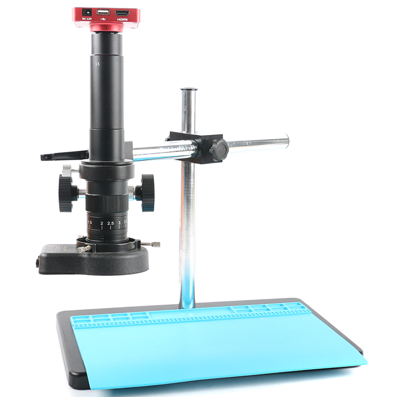 37MP <font><b>1080P</b></font> Freely Adjustable Stand <font><b>USB</b></font> HDMI Video Industrial <font><b>Microscope</b></font> Camera System Video Recorder 180X 300X Zoom Lens For Lab image