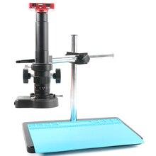 Microscope industriel à caméra vidéo et enregistreur, 37mp 1080P, support réglable librement, USB HDMI, objectif de Zoom de laboratoire 180x300x