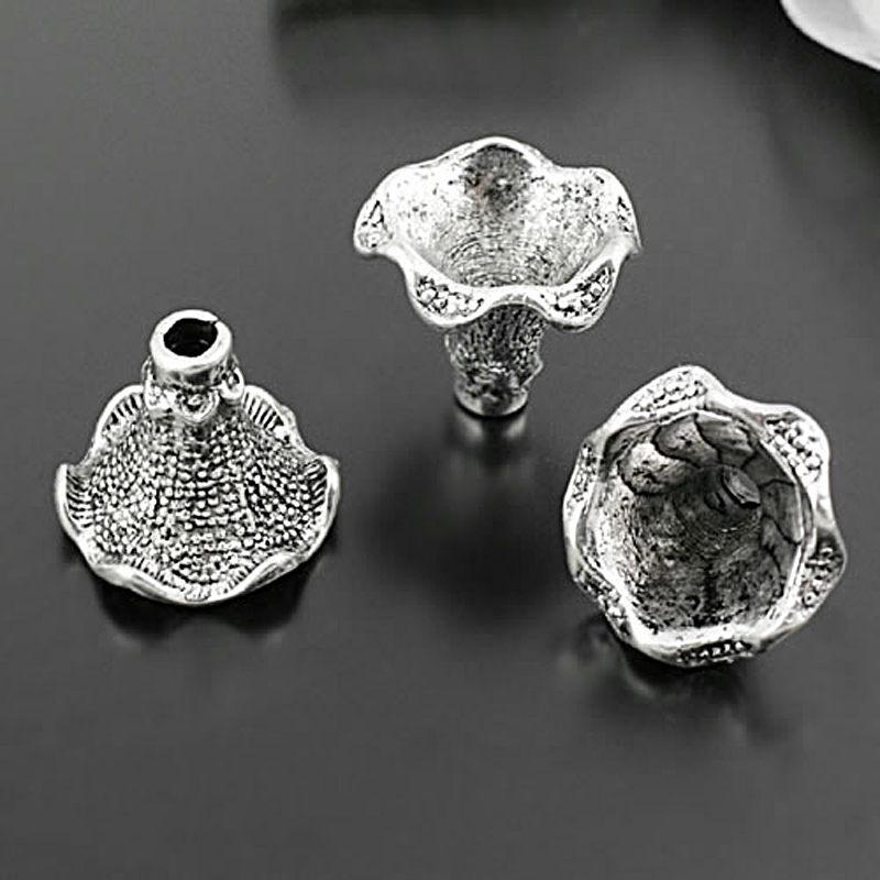 (28462)10PCS 21MM,height 17MM Antique Silver Zinc Alloy Beads Caps Tassel Caps Diy Jewelry Findings Accessories Wholesale