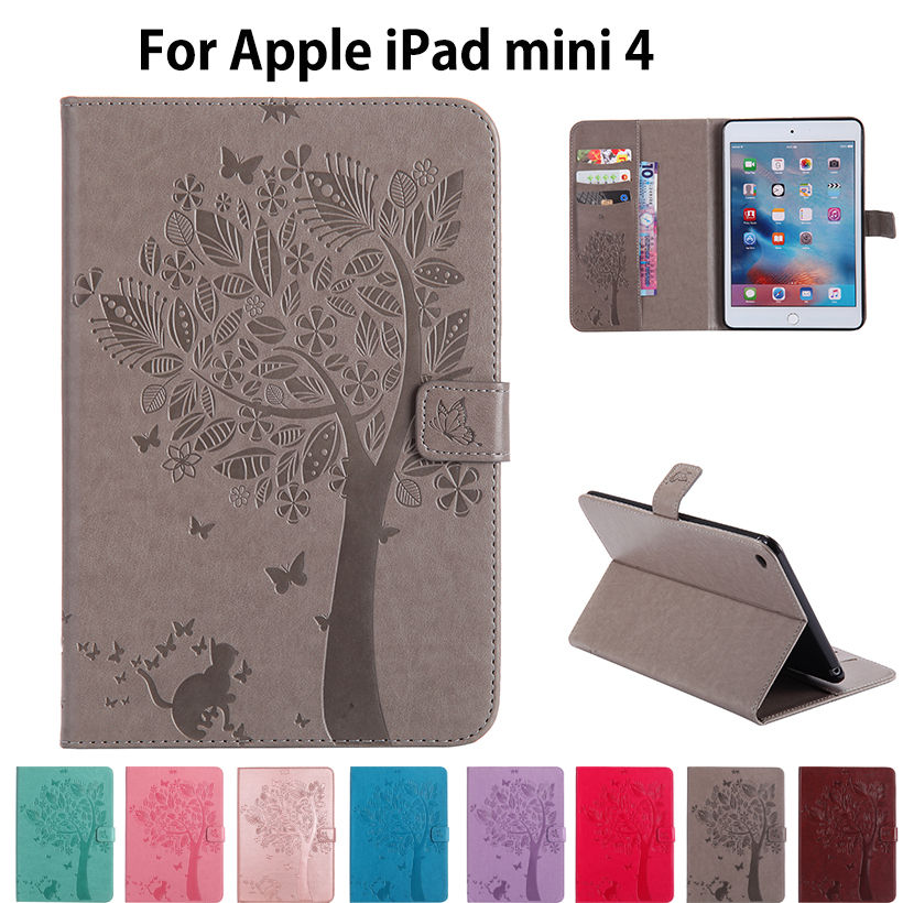 For Apple iPad mini4 Case High quality PU Leather Flip Stand Cat Tree Pattern Cases For iPad mini 4 Cover Funda Skin Shell стоимость