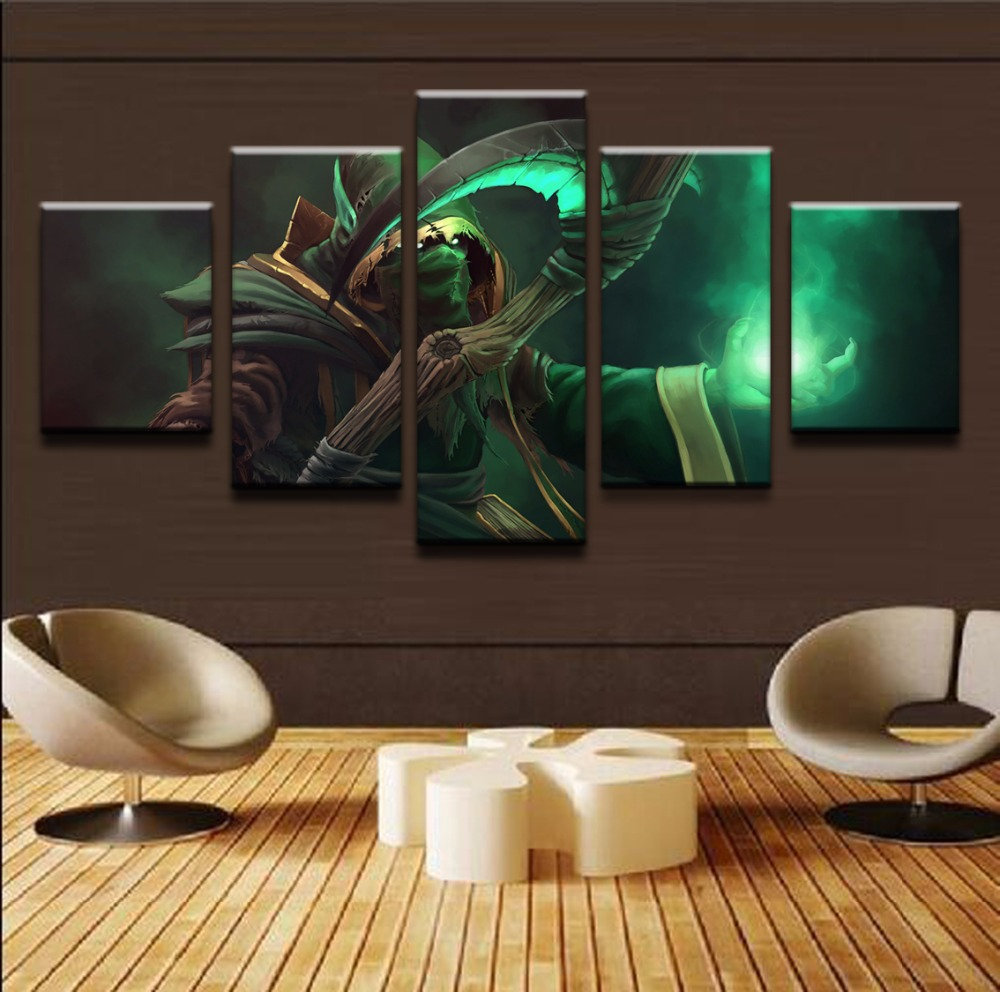 Modern Framework Paintings Canvas 5 Panel DOTA 2 Hood Necrophos Scythe Painting Cuadros Home Decoration Art Printed Pictures