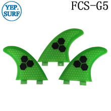 Surf Fins FCS G5 Fin Honeycomb Surfboard Fin Green color surfing fin Quilhas thruster surf accessories new style carbonfiber orange carbon strip fcs ii surfboard fins thruster fin set 3 compatible m7 surf fin