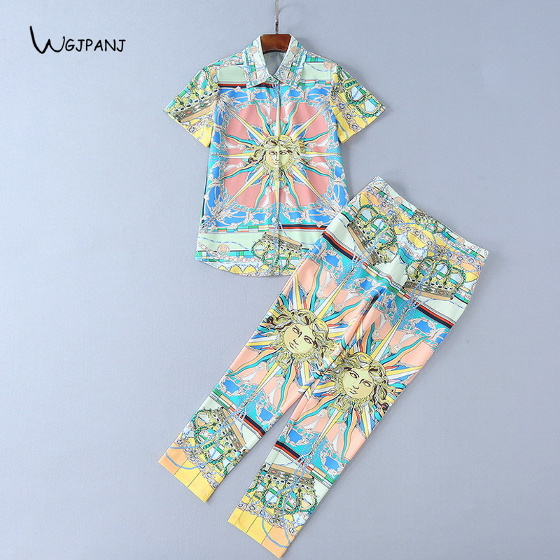 2018 Spring Short Sleeve Shirt + Pants 2 Two Piece Set Colorful Floral Print Sweet Runway Designer Women Sets