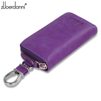 Large capacity zipper key bag men's waist hanging really leather women's card bag multi function car key chain K05