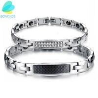 Boniskiss Carbon Fiber Jewelry Lovers Magnetic Stone Bracelet Healing Stainless Steel Women Men Bracelets Health Care