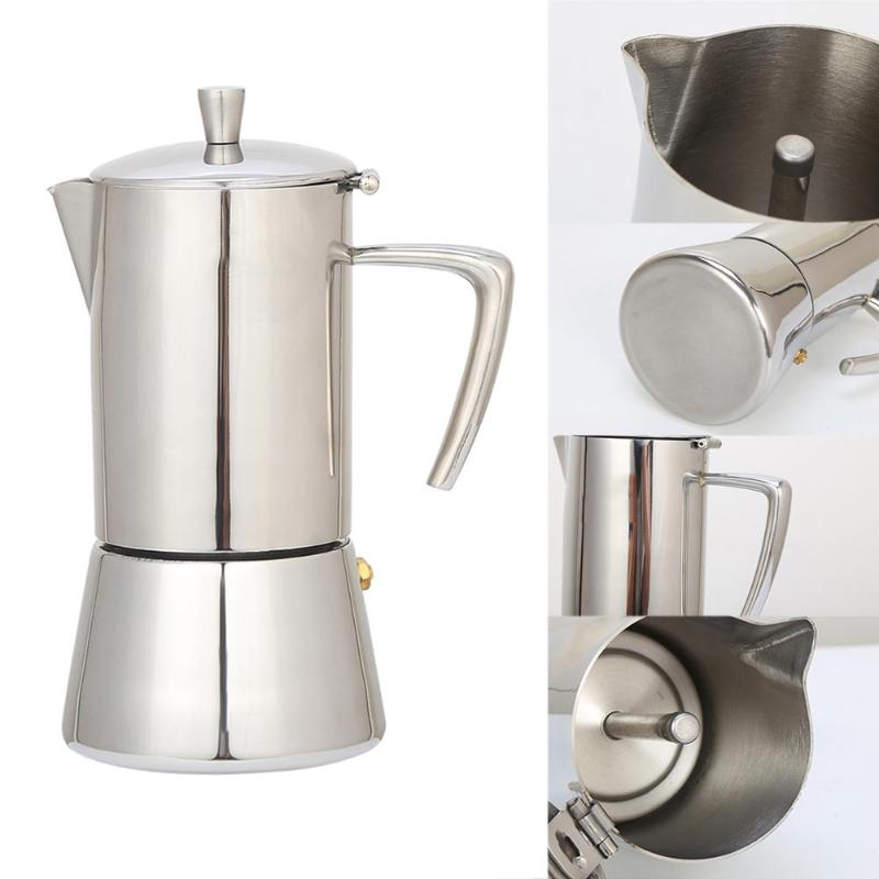 цены Stainless Steel Coffee Pot Moka Coffee Maker Teapot Mocha Stovetop Tool Filter Percolator Cafetiere Percolator Tool