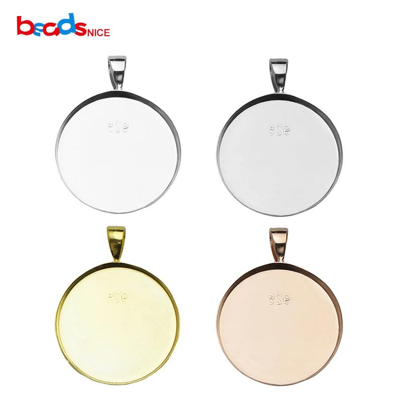 Beadsnice ID26727 valódi 925 ezüst medál beállítás 1 hüvelykes kerek diy sterling ezüst ékszer nagykereskedelem ajándékba gyári áron
