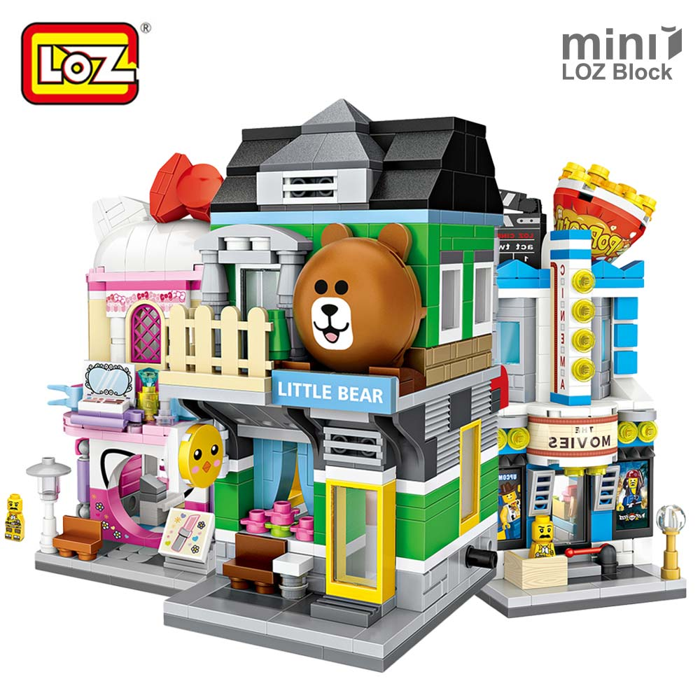 LOZ Mini Street View Mini Blocks Architecture Building Blocks City Educational DIY Toys for Children Bricks Shop Store Model Fun loz mini block architecture city view scene christmas toy for children mini street model store shop bridal assembly toys 1636